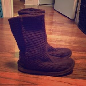 Chocolate brown knit UGGS